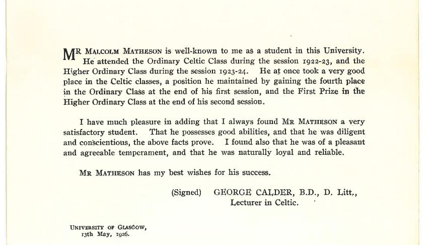 Calum MacMhathain - teisteanas 1926