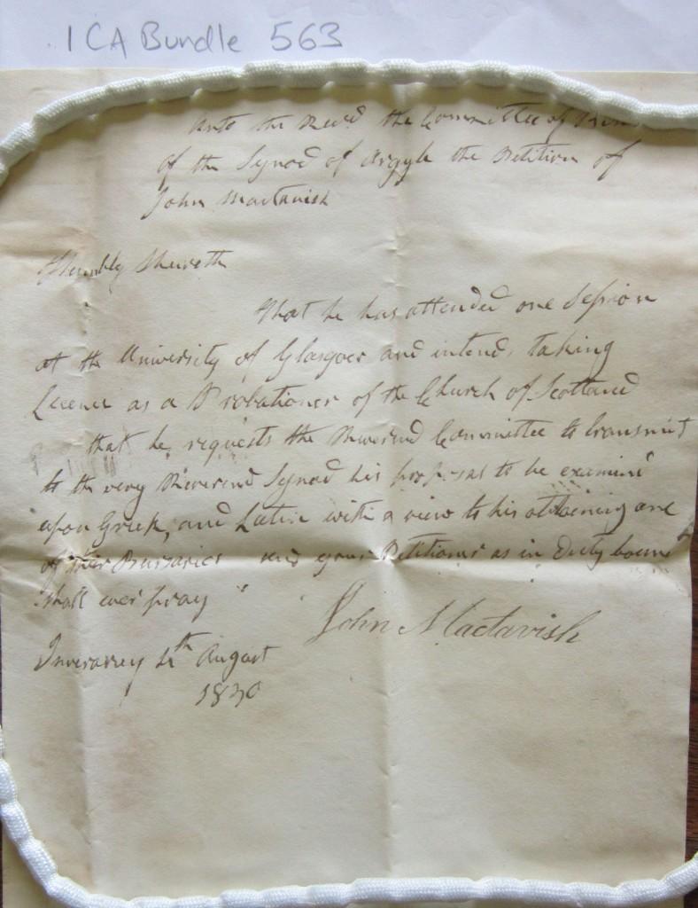 ICA Bundle 563_Gl'w Uni 1830 John MacTavish