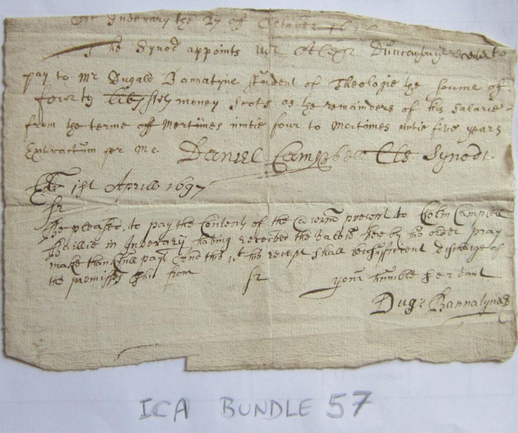 ICA Bundle 57_D Bannatyne_GU student 1692-95