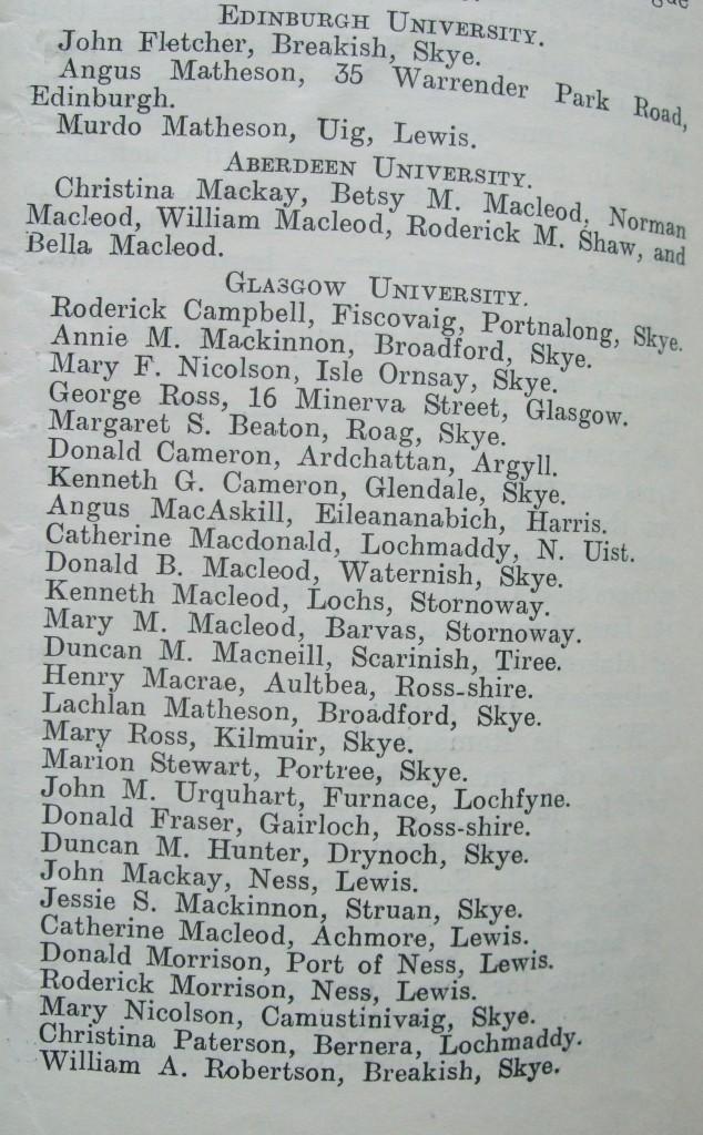 An Gaidheal 1931 (10) Celtic graduates 1931 list (2)