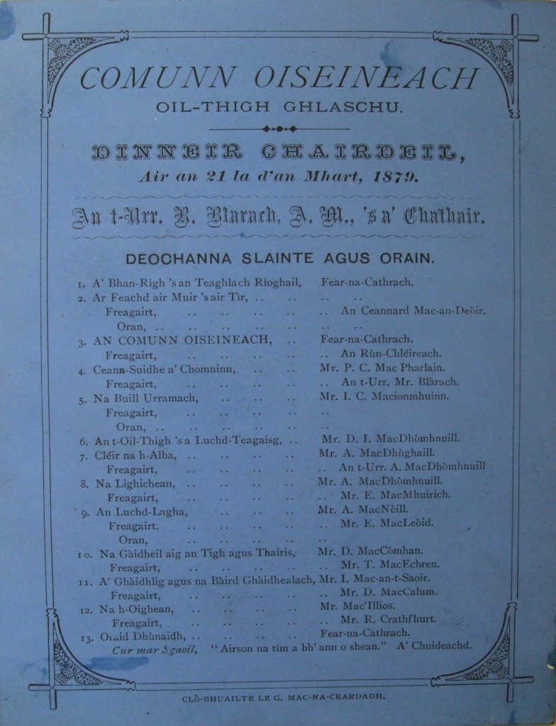 MS Gen 1367 Deochan Slainte Dinneir chairdeil 1879