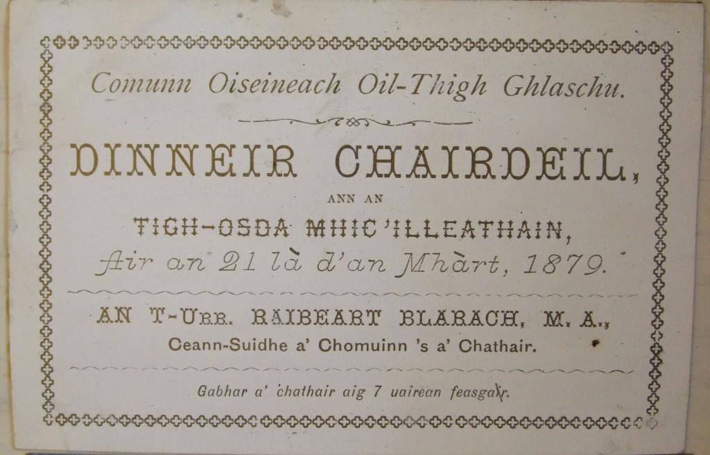 MS Gen 1367 Ticead Dinneir chairdeil 1879