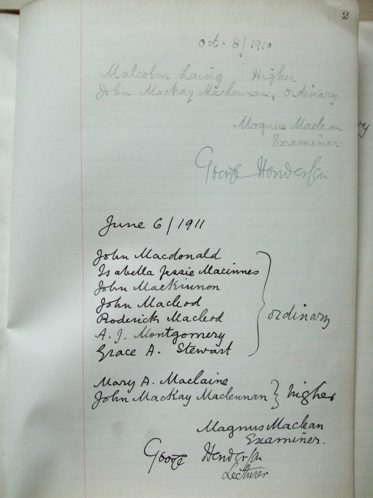 Pass-list Henderson - 1910-1911